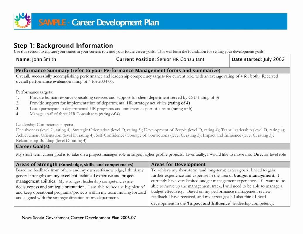 Individual Career Development Plan Template Beautiful Career Development Plan