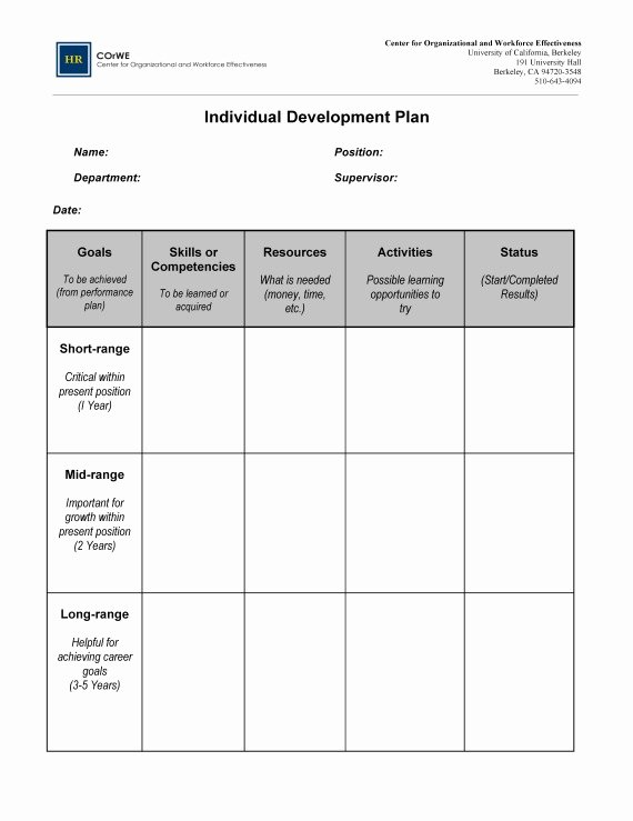 Individual Development Plan Template New Employee Career Development Plan Template