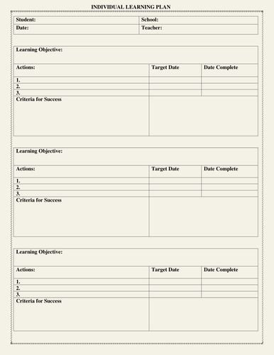 Individual Education Plan Template Best Of Individual Learning Plan Template