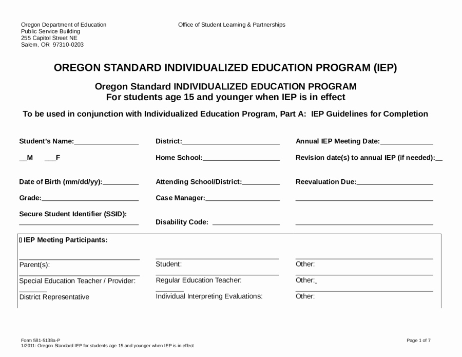 Individual Education Plan Template Luxury 2018 Individual Education Plan Fillable Printable Pdf