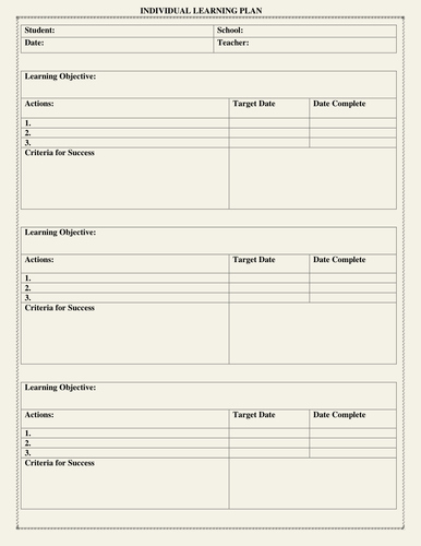 Individual Education Plan Template Luxury Individual Learning Plan Template by Moedonnelly