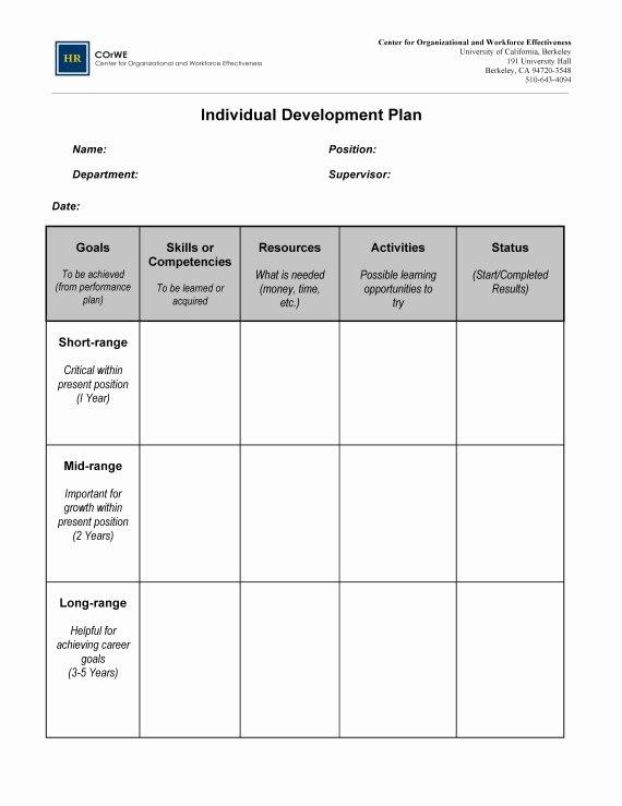 Individual Employee Training Plan Template Fresh Employee Career Development Plan Template