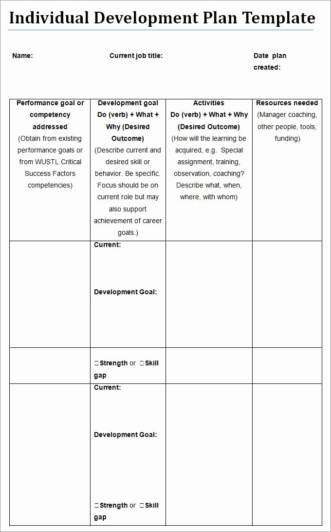 Individual Learning Plan Template Lovely Individual Development Plan Template 11 Free Pdf Word