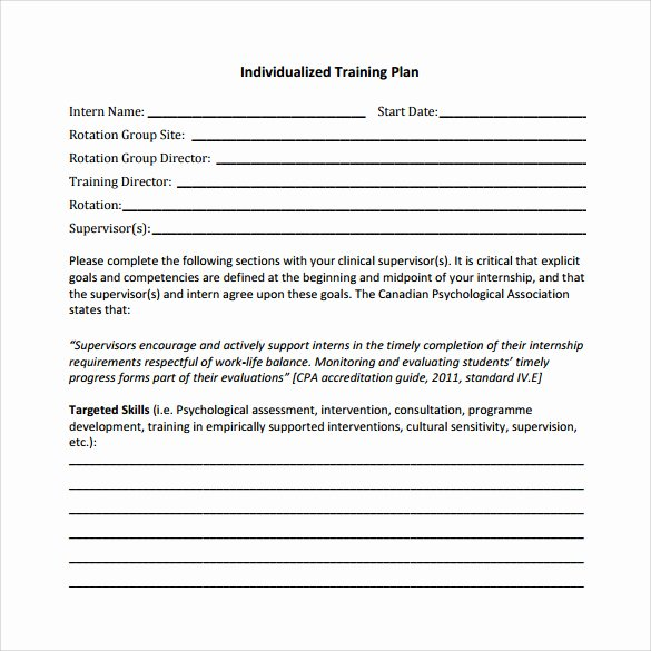 Individual Learning Plan Template New Training Plan Template 16 Download Free Documents In
