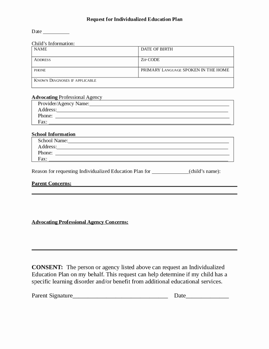 Individual Service Plan Template Beautiful Request for Individualized Education Plan Edit Fill