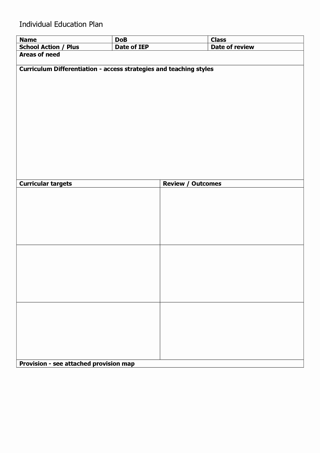 Individualized Education Plan Template Elegant Individual Learning Plan Template Success