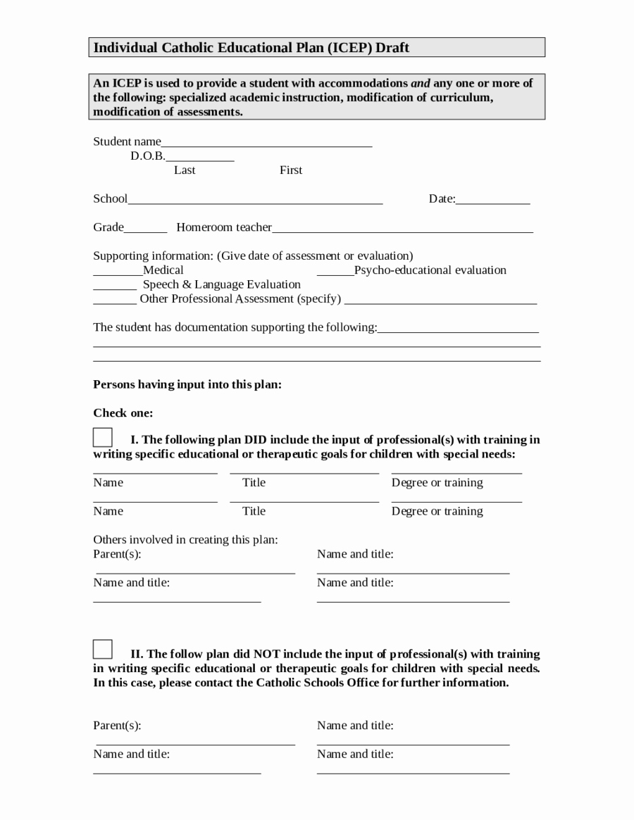 Individualized Education Plan Template Lovely 2019 Individual Education Plan Fillable Printable Pdf