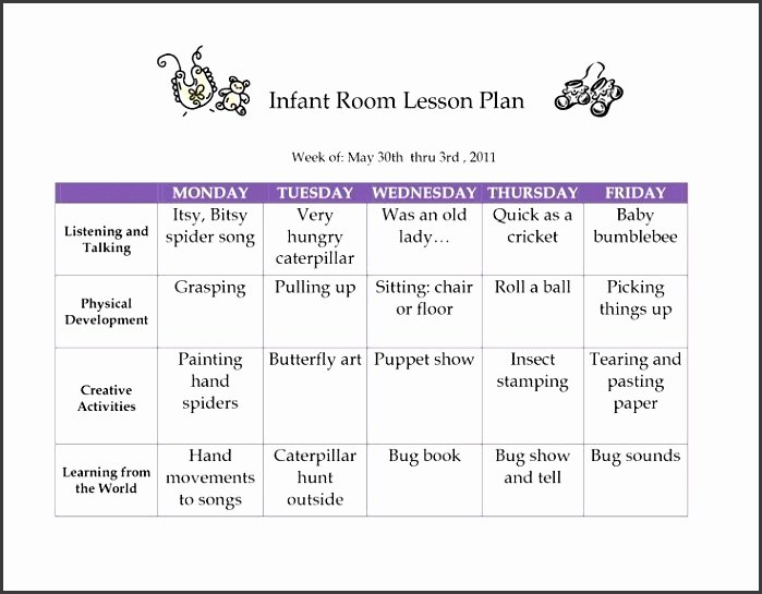 Infant Lesson Plan Template Beautiful 6 Creative Curriculum Preschool Lesson Plan Template