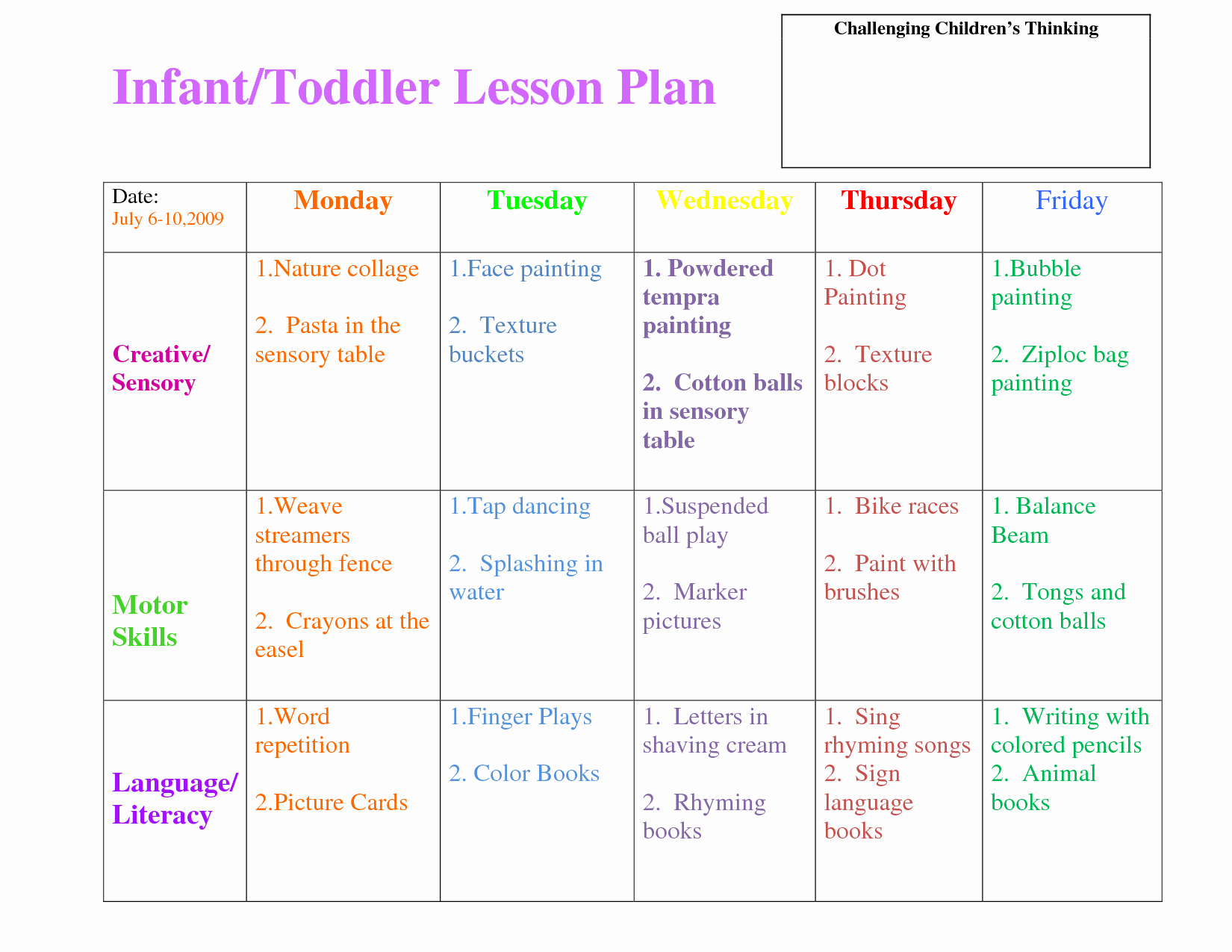 Infant Lesson Plan Template Elegant Infant Blank Lesson Plan Sheets