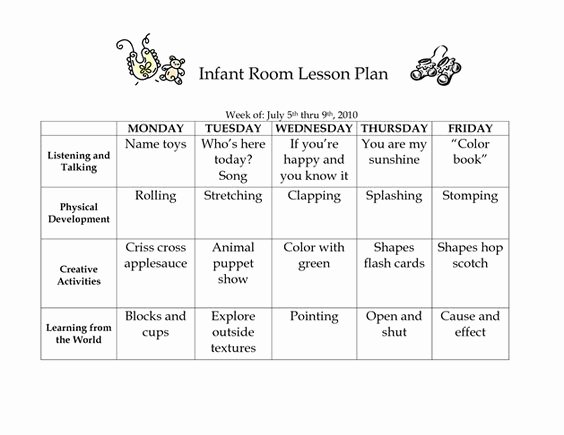 Infant Lesson Plan Template Inspirational Infant Room Lesson Plan Westlake Childcare by Linzhengnd