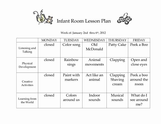 Infant Lesson Plan Template Lovely Infant Blank Lesson Plan Sheets