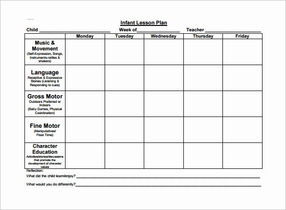 Infant Lesson Plan Template New toddler Lesson Plan Template 9 Free Pdf Word format