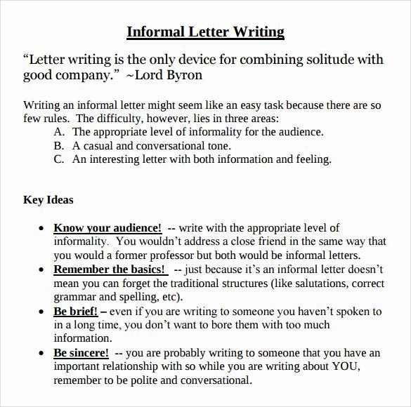 Informal Letter format Sample Awesome 10 Sample Informal Letters Doc Pdf
