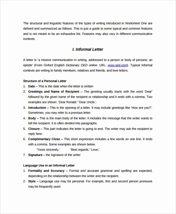 Informal Letter format Sample Awesome 21 Letter format Samples