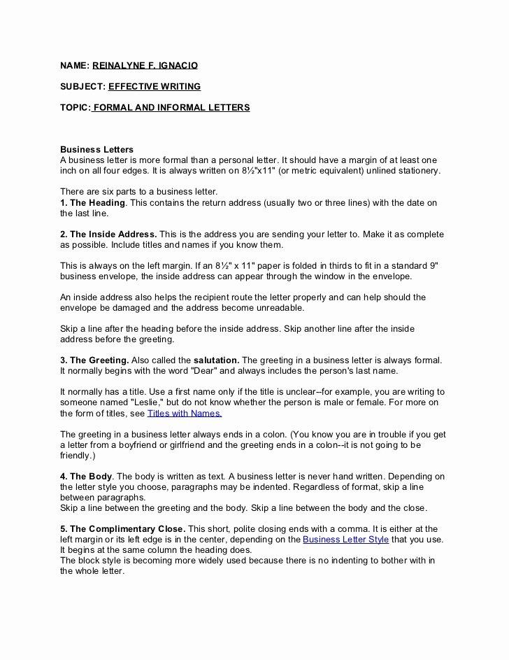 Informal Letter format Sample Awesome formal and Informal Letter