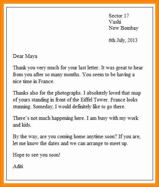 Informal Letter format Sample Beautiful Example Letter Informal 5 – Platte Sunga Zette