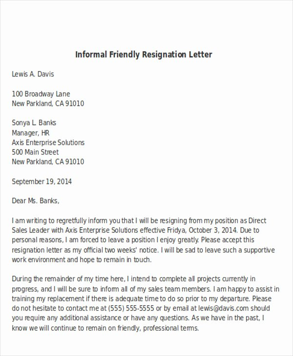 Informal Letter format Sample Elegant Sample Informal Resignation Letter 4 Examples In Pdf Word