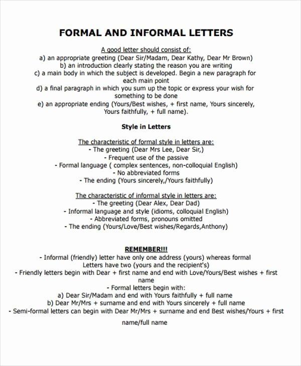 Informal Letter format Sample Fresh Sample formal Letter format 34 Examples In Pdf Word