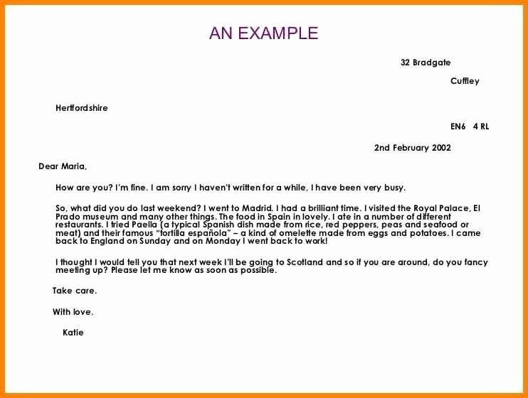 Informal Letter format Sample Lovely Informal Letter format Spanish