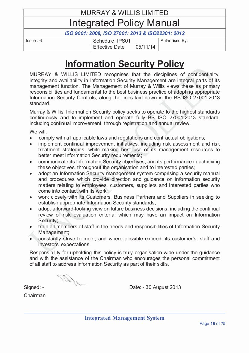 Information Security Plan Template Inspirational Information Security Policies