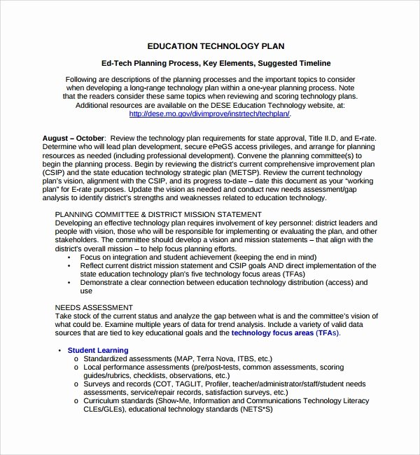 Information Technology Strategic Plan Template Awesome Sample Technology Plan Template 9 Free Documents In Pdf