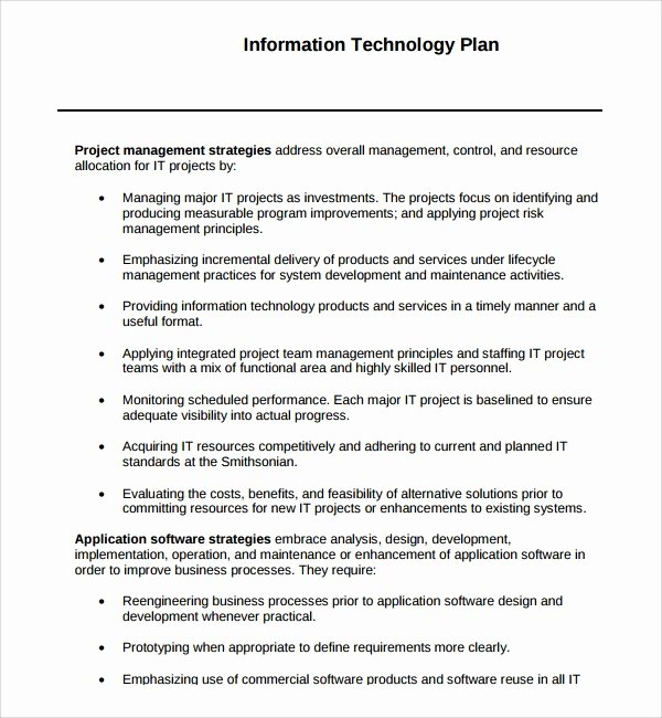 Information Technology Strategic Plan Template Beautiful Sample Technology Plan Template 9 Free Documents In Pdf