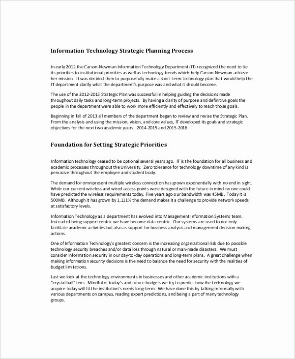 Information Technology Strategic Plan Template Best Of Strategic Planning Template 13 Free Pdf Word Documents