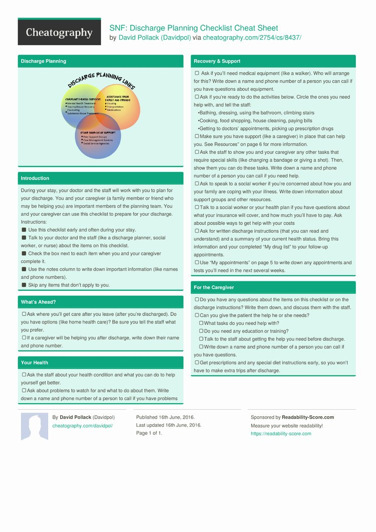 Inpatient Psychiatric Treatment Plan Template New Snf Discharge Planning Checklist Cheat Sheet by Davidpol