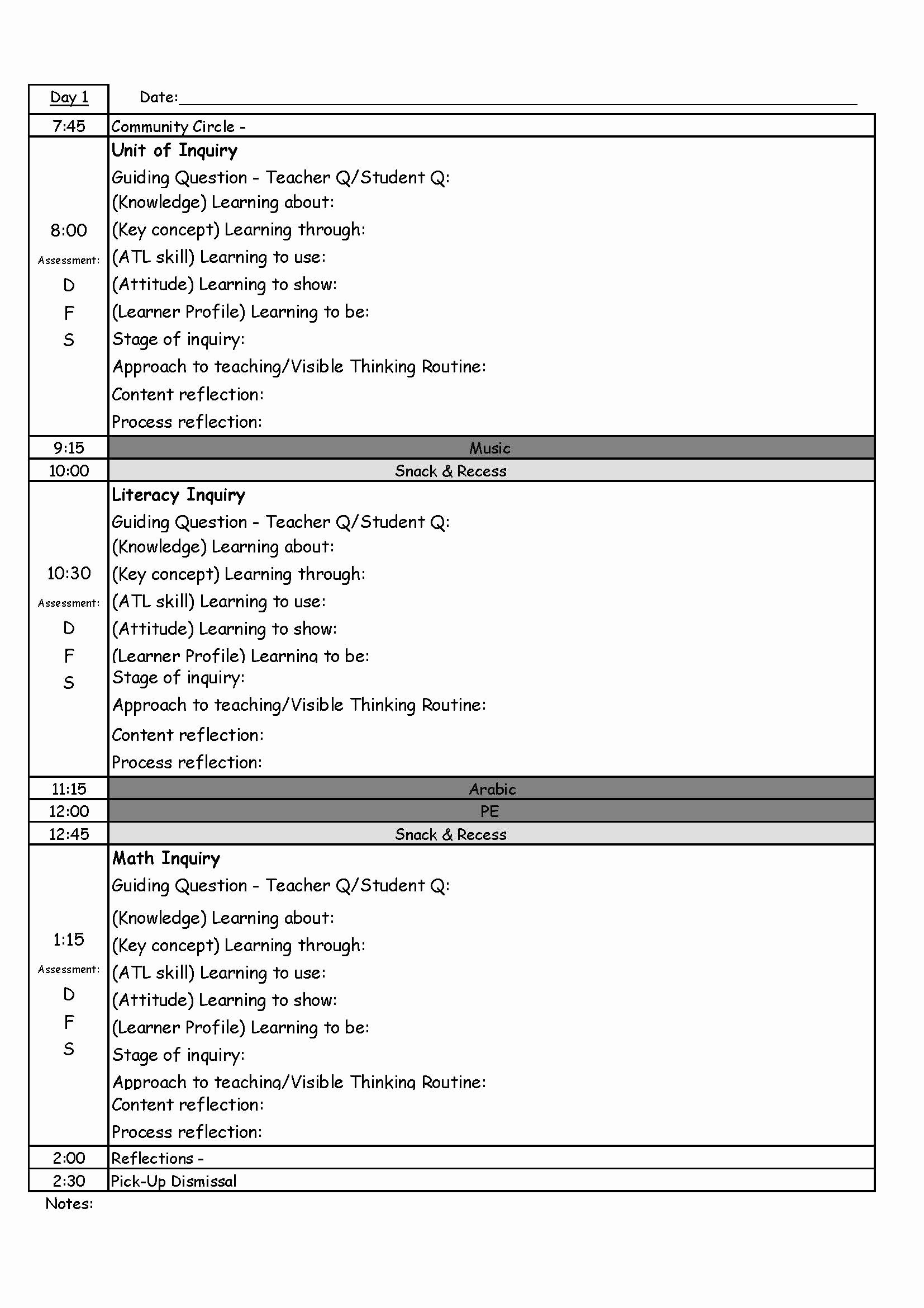 Inquiry Based Lesson Plan Template Best Of Pyp Day Plan Template