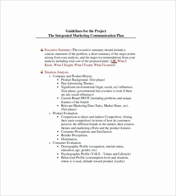 Integrated Marketing Plan Template Fresh 9 Integrated Marketing Munication Plan Templates Doc