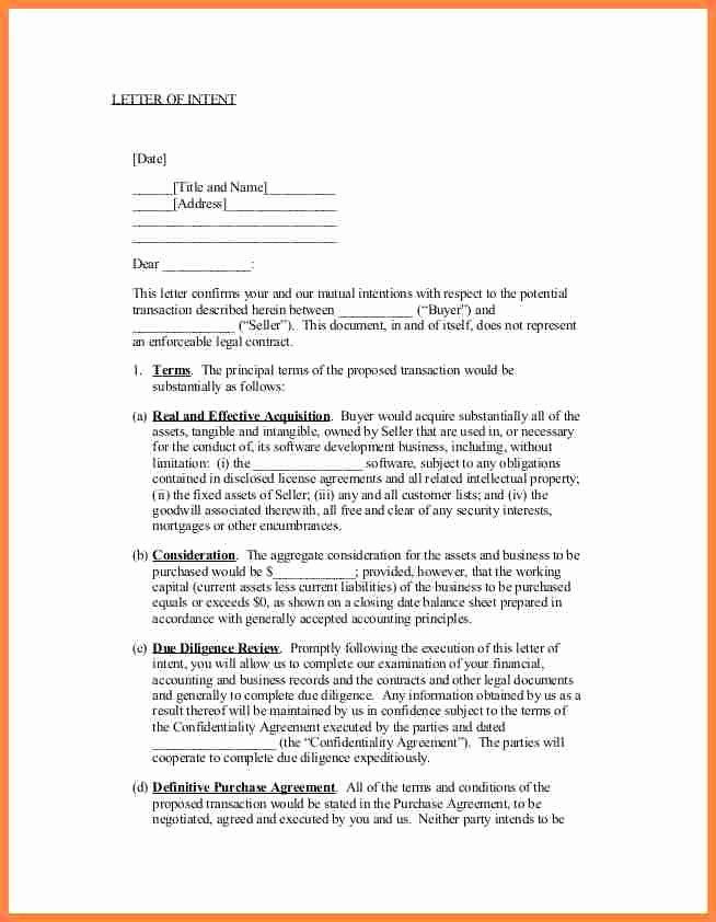 Intent to Purchase Business Agreement Beautiful 6 Letter Of Intent to Purchase A Business Template