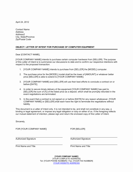 Intent to Purchase Business Agreement Beautiful Letter Of Intent for Purchase Of Puter Equipment