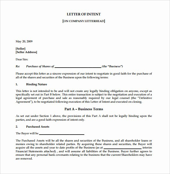 Intent to Purchase Business Agreement Fresh 7 Business Letter Of Intent Word Pdf