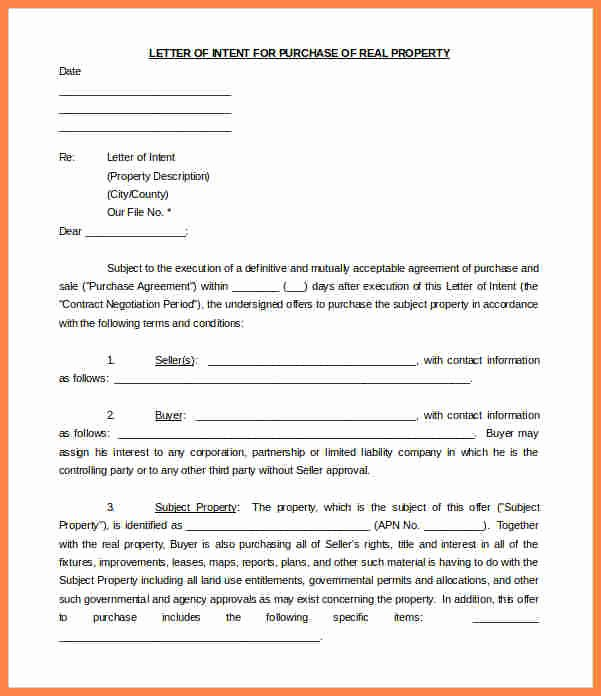 Intent to Purchase Business Agreement Lovely 10 Letter Of Intent for Real Estate Purchase Template