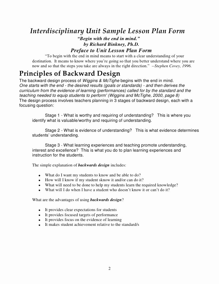 Interdisciplinary Unit Plan Template Fresh Backwards by Design In the Exemplary Middle School