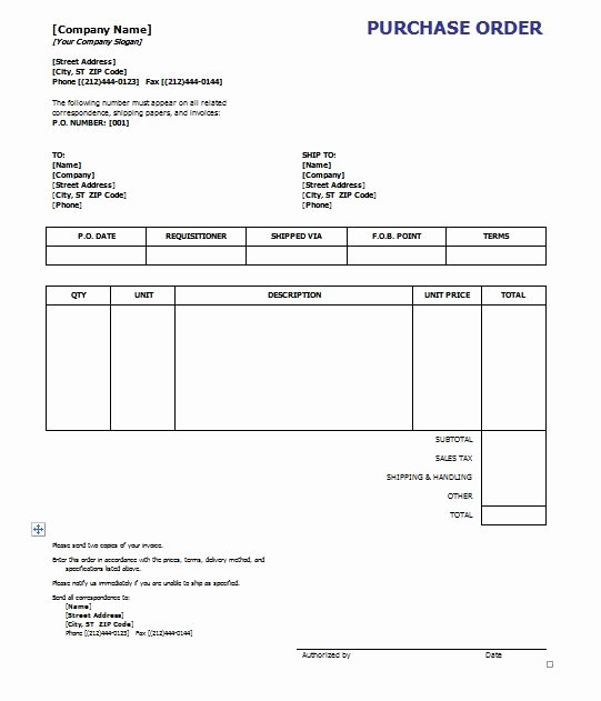 Interior Design Purchase order Elegant Purchase order Template 8 Free Excel Word Template