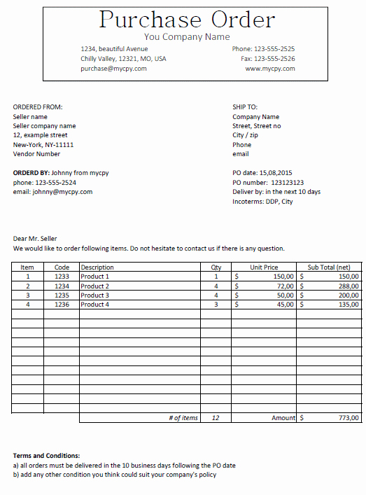 Interior Design Purchase order Luxury Excel Template Free Purchase order Template for