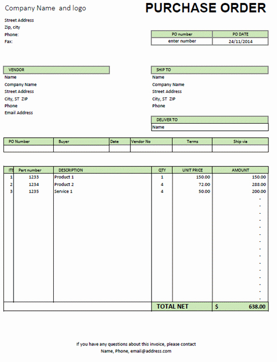 Interior Design Purchase order Template Lovely Excel Purchase order Template Excel