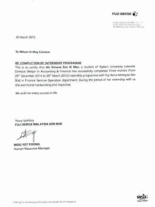 sample internship re mendation letter