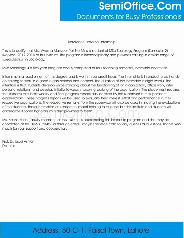 Intern Letter Of Recommendation Elegant Reference Letter for Internship