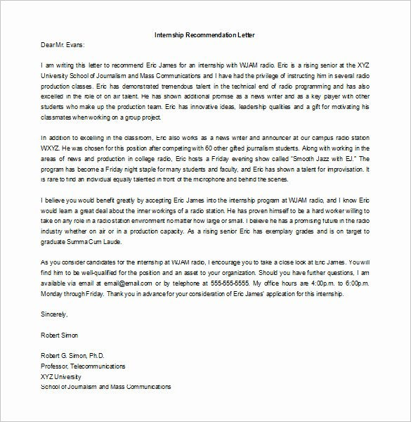 Intern Letter Of Recommendation Fresh Request Letter Internship