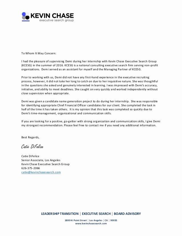Intern Letter Of Recommendation Lovely Re Mendation Letter Internship 2016