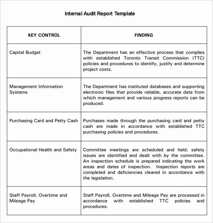 Internal Audit Plan Template Awesome 19 Internal Audit Report Templates Pdf Google Docs