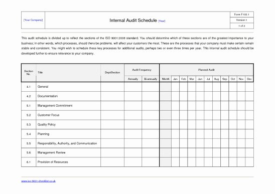 Internal Audit Plan Template Best Of 27 Of Internal Audit Schedule Template Excel