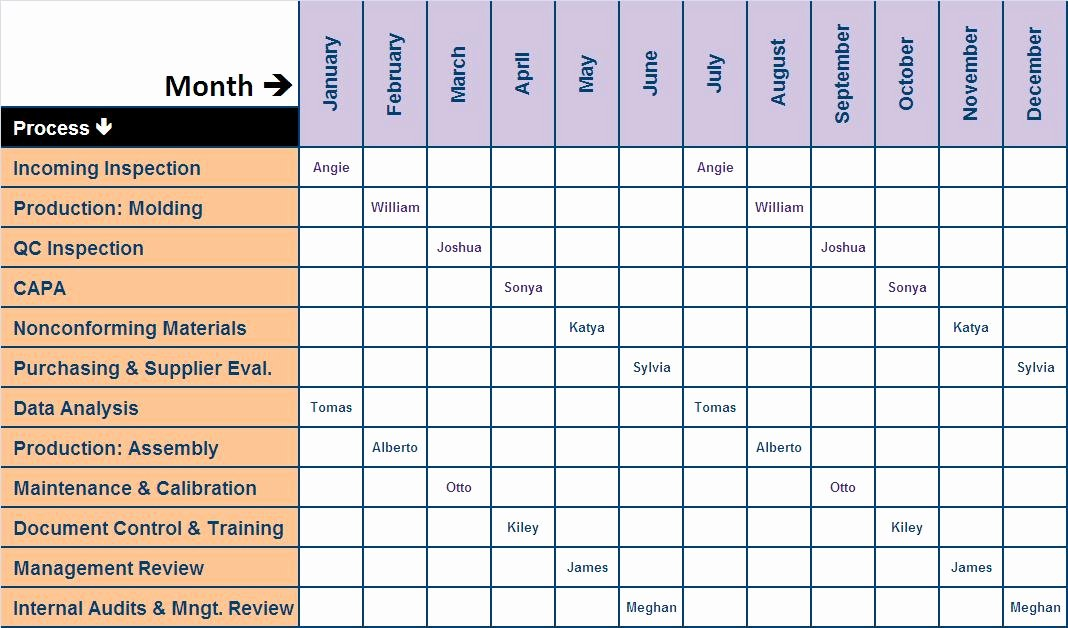 Internal Audit Plan Template Elegant Audit Schedule