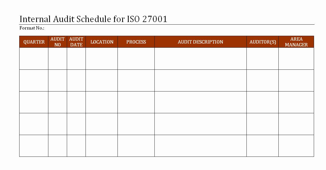 Internal Audit Plan Template Elegant Internal Audit Schedule for iso