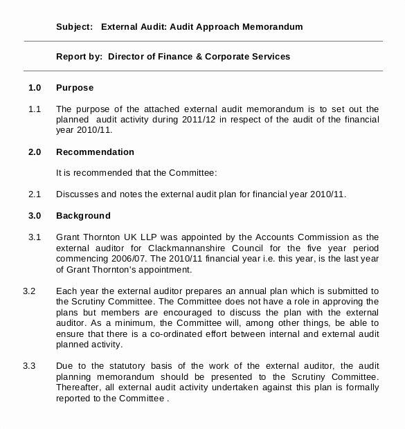 Internal Audit Plan Template Inspirational 19 Audit Memo Templates – Sample Word Google Docs format