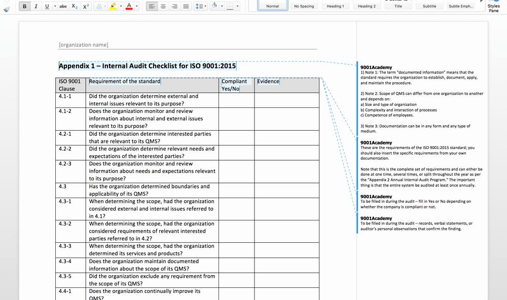 Internal Audit Plan Template Inspirational iso 9001 2015 Internal Audit toolkit