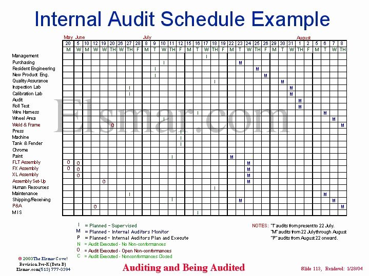 Internal Audit Plan Template Lovely Internal Audit Schedule Example