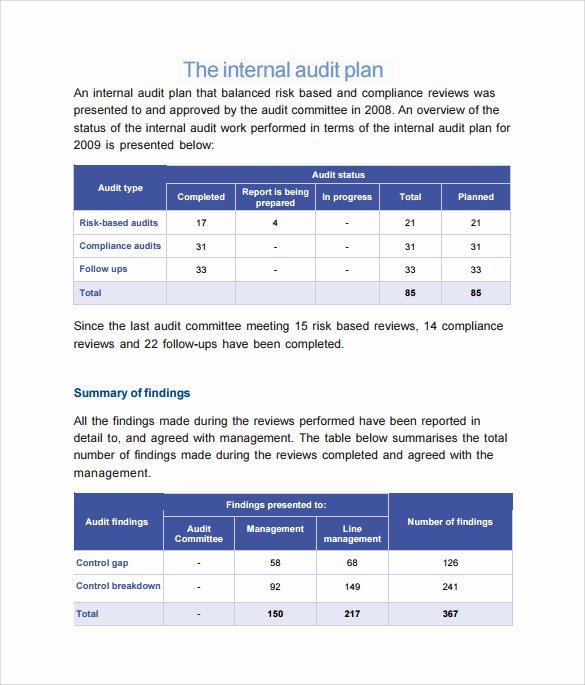 Internal Audit Plan Template Unique 9 Sample Audit Plan Templates Word Pdf
